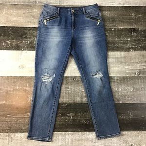 Chico's Platinum Distressed Jegging Jeans